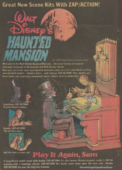 Page 1 of double page Disney's Haunted Mansion by MPC. 1974. Weird War Tales. US.