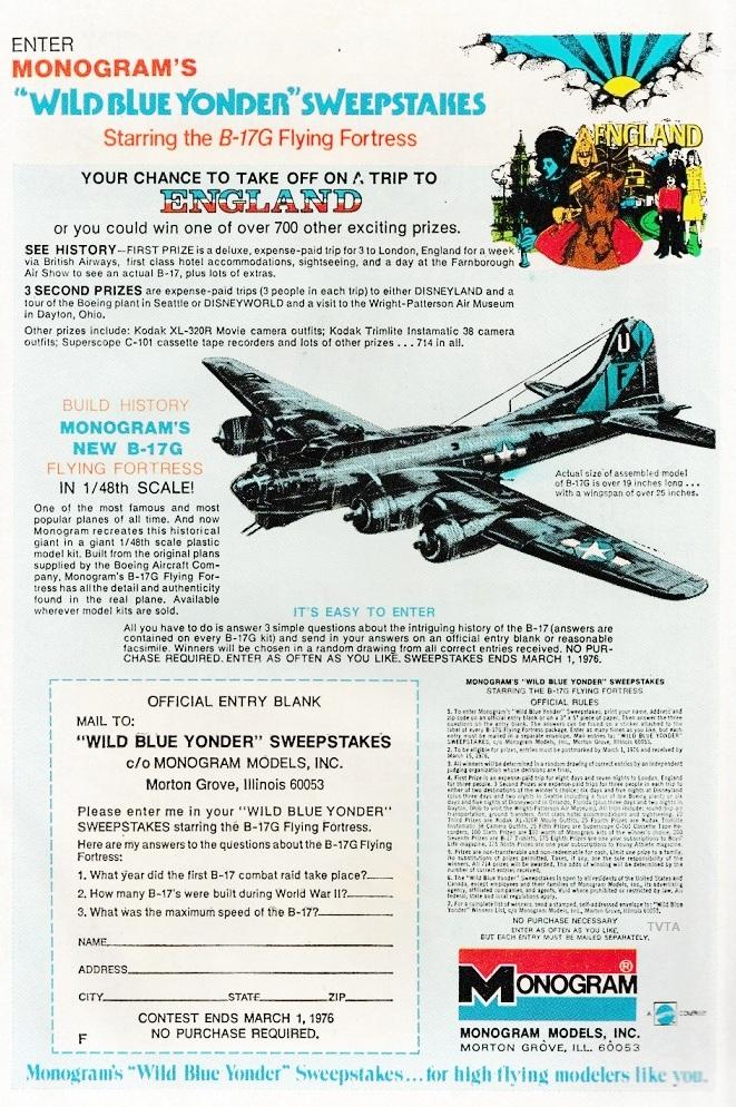 Monogram Wild Blue Yonder Sweepstakes | The Vintage Toy Advertiser