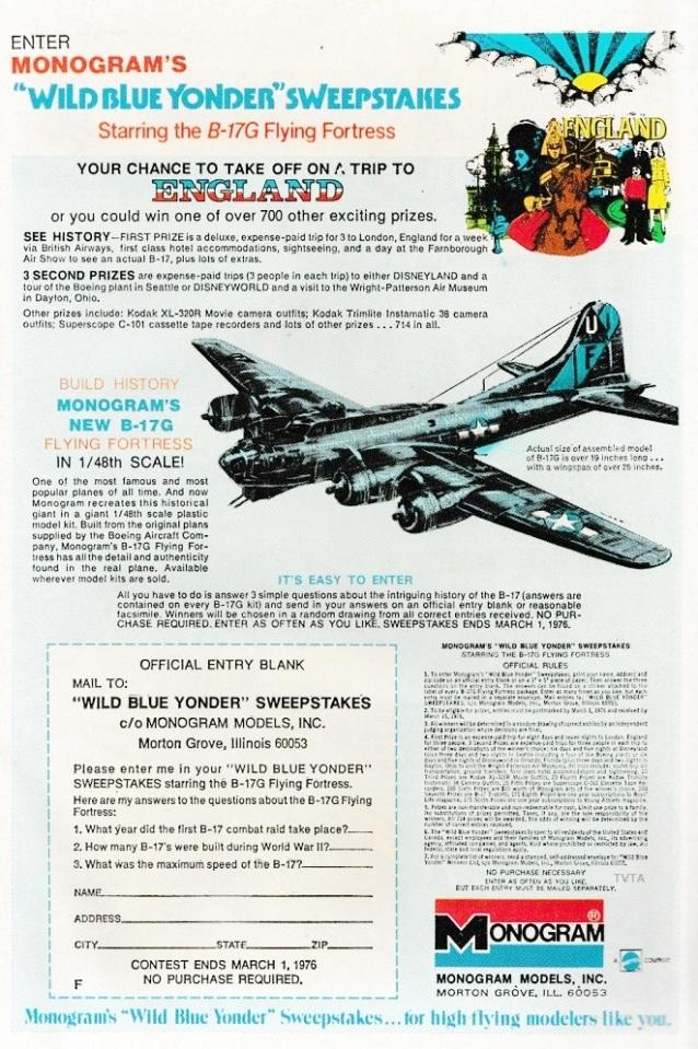 Monogram Wild Blue Yonder Sweepstakes Weird War Tales N° 44 1976