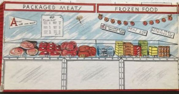 illustration of fictional Super market showing freezer packed with food and frozen vegetable
