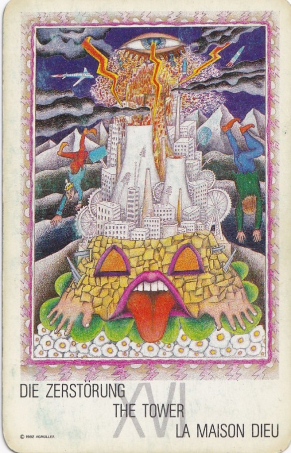 Tarot card from 1982 New Age deck - XVI - The Tower